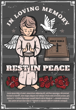 Funeral service agency vintage grunge poster. Vector angel with prayer hands, doves and mortuary and burial ceremony roses flowers bunch wreath, bible Rest in Peace or RIP text