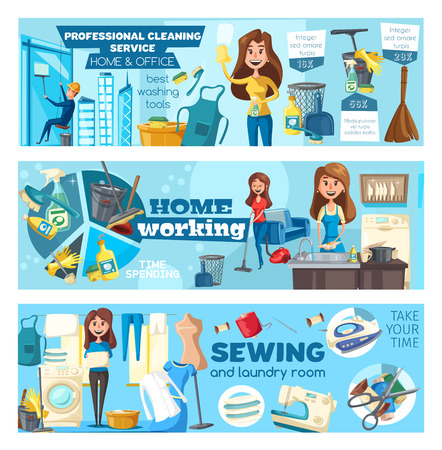 Home cleaning and rope access glass cleaning service banners. Vector office and home washing, mopping, needlework sewing and laundry or dishwashing housekeeping staff and tools