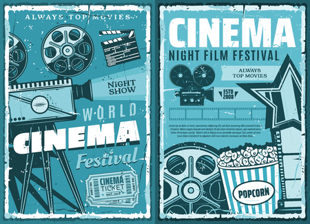 Night film festival or movie premiere retro grunge posters. vector cinematography cinema show, 3D glasses, video camera and vintage movie projector with actor award and popcorn Çizim