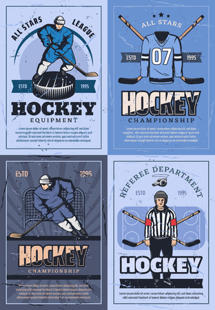 Ice hockey sport vintage posters or players team, outfit and equipment. Vector ice hockey puck and stick, forward or defenseman and goaltender uniform and referee whistle on ice arena Illustration