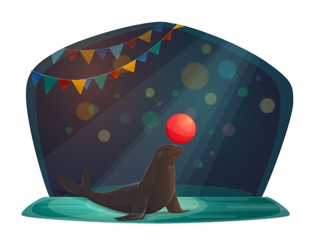 Circus seal balancing ball and juggling red balloon. Vector isolated big top circus wild trained animal in performance show spotlight with flags