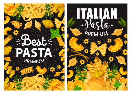 Italian cuisine pasta restaurant menu cover. Vector traditional premium quality Italian homemade pasta fusilli, fettuccine or linguine, conchiglie or gnocchi and lasagna with cooking spices and herbs