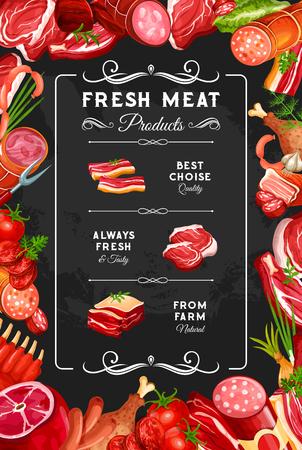 Carne e salsicce, poster della macelleria della fattoria. Gastronomia gourmet vettoriale, bistecca di manzo o prosciutto di maiale e coscia di pollo o tacchino con petto, salame e wurstel affumicati al cervelat, costolette di montone