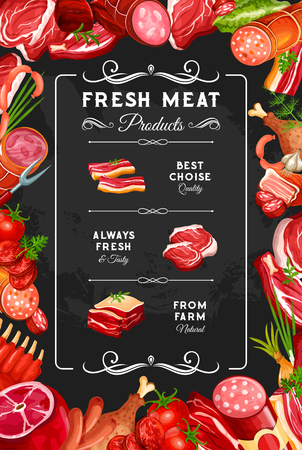 Meat and sausages, farm butcher shop poster. Vector gourmet delicatessen, beef steak or pork ham and chicken or turkey leg with brisket, salami and cervelat smoked wursts, mutton ribs Illustration