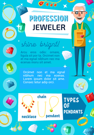 Jeweler professional worker and jewelry bijou. Vector jewelry expert appraiser or goldsmith with gems, golden rings and necklaces, diamond earring and pendant with ruby, sapphire and emerald crystals Illustration