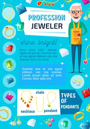 Travailleur professionnel de bijoutier et bijou de bijoux. Évaluateur expert en bijoux vectoriels ou orfèvre avec pierres précieuses, bagues et colliers en or, boucle d'oreille en diamant et pendentif avec cristaux de rubis, de saphir et d'émeraude