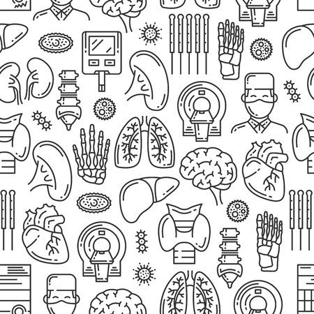 Medical seamless pattern of organs and body joints. Vector medicine doctor, mri scanner or X-ray spine bones, heart or brain and virus infection or lungs, kidney or pancreas and trachea or liver Banco de Imagens - 123124860
