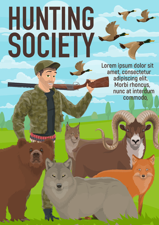 Hunter club or hunting society poster. Vector open season hunt for wild animals and duck birds, bear, wolf or fox and lynx, hunter ammo rife gun and bullet cartridge bandolier