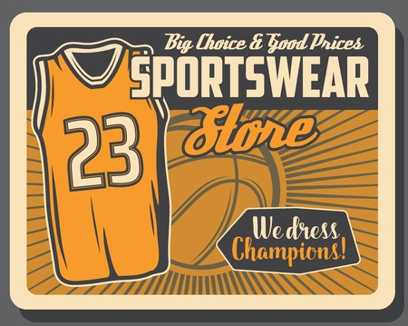 Basketball sportswear store and sport equipment accessories shop. Vector vintage retro poster with big choice and prices for basketball player shirt or top tank vest and champion ball