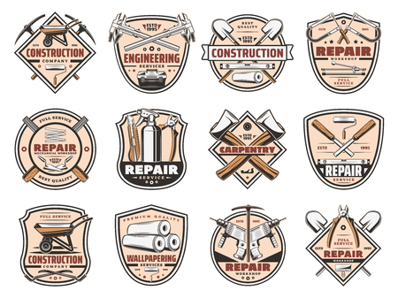 Tools workshop, construction and home repair equipment service icons. Vector house renovation and handyman work tools, carpentry hammer, woodwork plane grinder or cement wheelbarrow and electric drill
