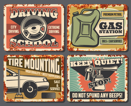Auto service and car repair station rusty plates. Driving school, transport petroleum gas station or tire mounting automotive service and keep quiet vector sign posters with rust effect Illustration