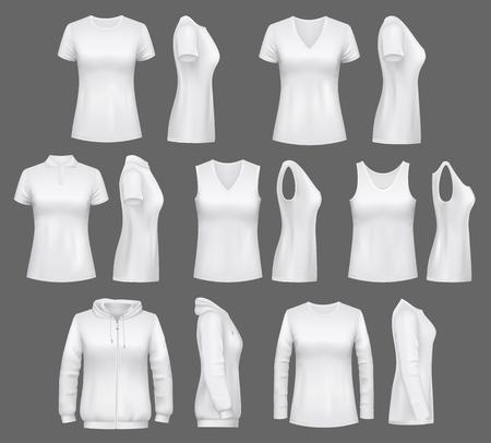 Frauenkleidungsmodelle von T-Shirts, Sport-Tanktops oder Sportswear-Hoodies. Vektorweiße Damenbekleidung und lässiges Polo oder ärmelloses Hemd realistische Modelle, leere Vorder- und Seitenansicht Vektorgrafik