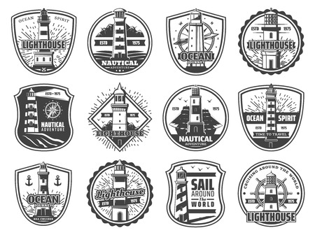 Nautical lighthouse icons, seafarer marine safety sailing adventure badges. Vector sea beacon with light beams, seagulls and anchor, compass navigator and frigate ship