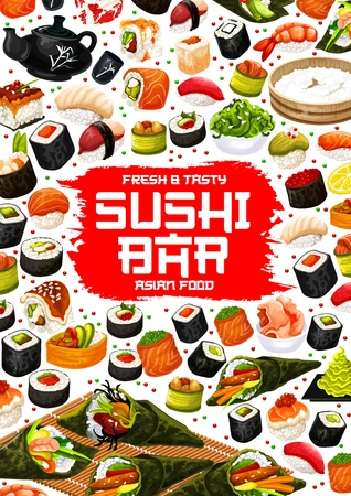 Japanese sushi bar menu, Asian cuisine restaurant. Vector suhsi and rice in nori, maki rools or salmon and eel sashimi, tobiko ikura roll, ebi shrimp or unagi temaki and inari futomaki Иллюстрация
