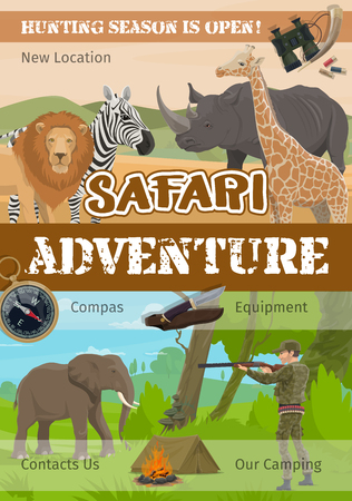 African hunt, safari adventure hunting club poster. African wild lion, rhinoceros or elephant and zebra with giraffe, hunter in camouflage with rifle gun and cartridge bandolier ammo