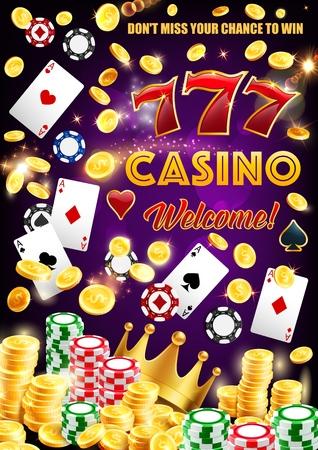 Casino rad van fortuin, dobbelstenen en speelkaarten poster. Vector gokspel roulette met jackpot sprankelende gouden munten splash, overwinningskroon en poker gok token chips