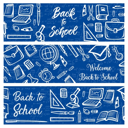 Back to School education and study supplies on algebra mathematics formula pattern background. Vector Welcome Back to School banners with student bag, college graduate cap or laptop computer and clock Vektorové ilustrace