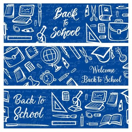 Zurück zu Schulbildung und Studienbedarf auf Algebra-Mathematik-Formelmusterhintergrund. Vector Welcome Back to School Banner mit Studententasche, College-Absolventenmütze oder Laptop-Computer und Uhr college Vektorgrafik