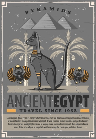 Egypt travel and ancient Egyptian landmarks tourist tours. Vector travel agency poster of Pharaoh cat deity, scarab beetle and dates palms in Egypt pyramids 일러스트