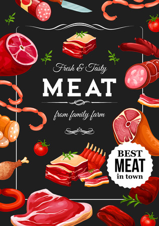 Farm butchery shop poster of meat, sausages and gourmet delicatessen. Vector Lyon sausages, salami and cervelat wursts, pork ham and beef steak with smoked bacon or turkey brisket and chicken leg