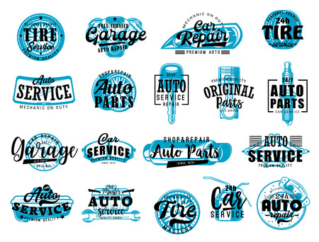 Automobile spare parts workshop, car repair and diagnostic service center lettering icons. Vector automotive garage and mechanic station, tire change or engine spark plugs and brakes replacement Illustration