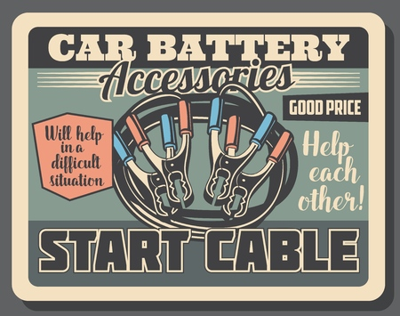 Car engine start cables, auto service center vintage poster. Vector vehicle ignition jumper cables, automotive spare parts and accessories shop or mechanic garage station