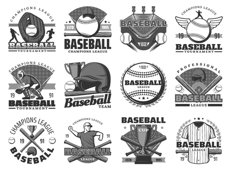 Baseball sport, team club badges or league tournament icons. Vector baseball or softball game championship season, player bat and ball with safety helmet and equipment