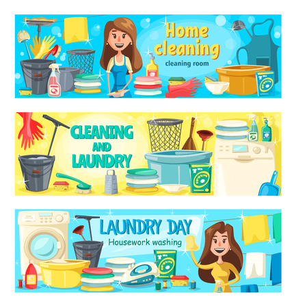 Home cleaning and laundry washing service banners. Vector professional housekeeping, floor and window glass polisher, washing machine and clothes ironing and kitchen dishwashing