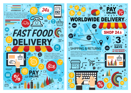 Fast food online delivery line art poster. Vector internet fastfood restaurant or worldwide delivery shop service on smartphone or mobile tablet, sushi or hot dogs, burgers or sandwiches and desserts
