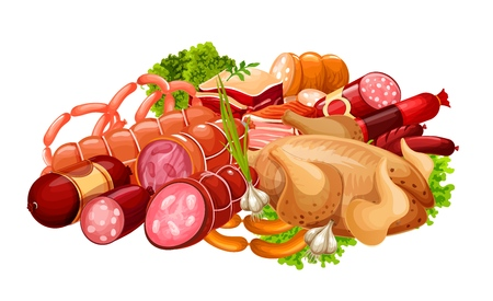 Sausages, meat and smoked grocery products. Farm butchery shop meat sausages, salami and cervelat, gourmet delicatessen chicken or turkey with pork ham and beef steak
