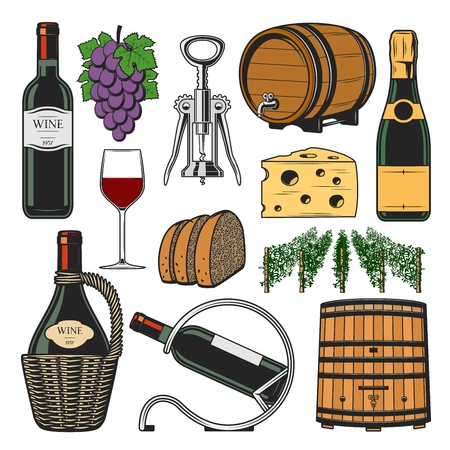 Winemaking and winery icons. Vector red and white sparkling wine accessories, champagne bottle in holder, vault wooden barrel with corkscrew and vineyard grape vines, bread and cheese snack