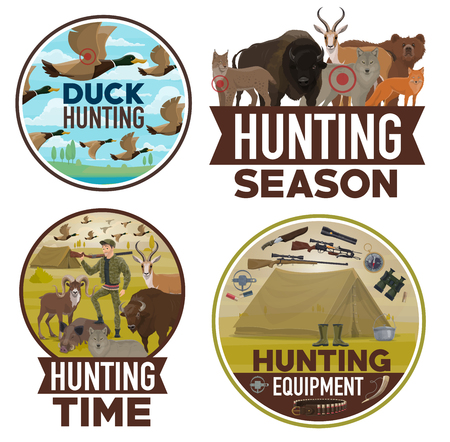 Hunting and hunt equipment, open season posters. Vector wild animals bear, wolf or fox and ducks, hunter ammo rife gun, binoculars and trap for buffalo, boar or mountain sheep and forest lynx Archivio Fotografico - 123124870
