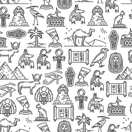 Culture égyptienne antique et modèle sans couture de symboles historiques. Momie de pharaon de vecteur, pyramides de sphinx du Caire ou de Néfertiti et de Khéops, dieux de divinité d'Anubis et de Ra ou motif de hiéroglyphes et de signes religieux Vecteurs