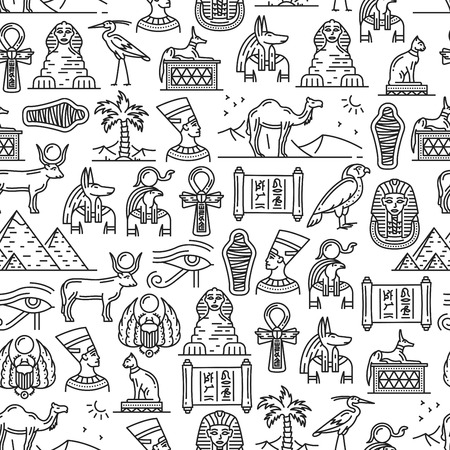 Wzór kultury starożytnego Egiptu i historycznych symboli. Wektor mumia faraona, piramidy Cairo Sphinx lub Nefertiti i Cheops, bogowie bóstwa Anubis i Ra lub hieroglify i znaki religijne wzór Ilustracje wektorowe