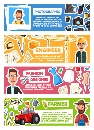 Farmer and fashion designer, photographer and engineer professions banners. Vector cartoon professional workers and work tools building winch, photo camera and sewing machine and farming agriculture Ilustrace