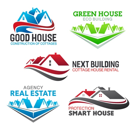 Real estate broker agency and house sale agent company icons. Vector isolated luxury mansions and premium cottage house rental, building and eco home construction