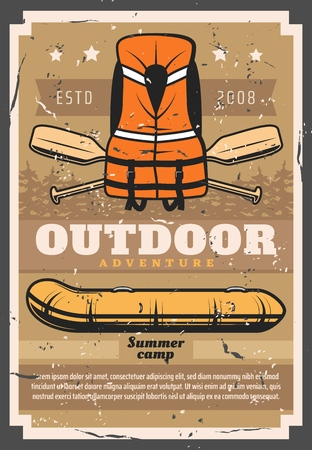 Rafting outdoor sport and recreational activity retro poster. Vector river extreme raft club summer camp, inflatable rafting boat, safety vest and paddles