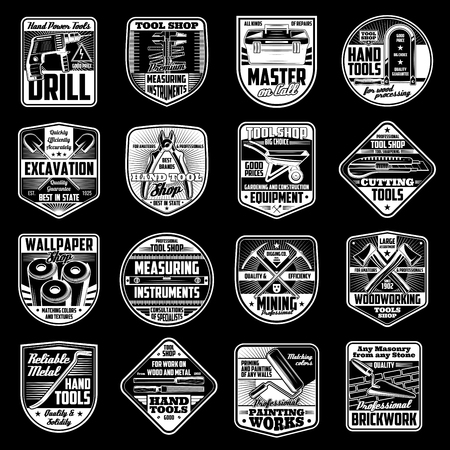 Construction handy tools and home renovation workshop icons. Vector handyman work tools, carpentry hammer, woodwork plane grinder, saw or cement wheelbarrow, painting brush and electric drill