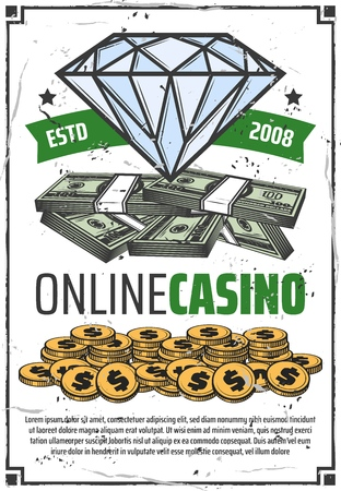 Casino gamble game and jackpot money win poster. Vector online casino poker wheel of fortune roulette gambling, diamond in ribbon with dollar gold coins bingo