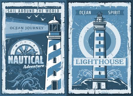 Affiche vintage de phare nautique d'aventure de navigation de sécurité maritime de marin. Balise de vecteur rétro océan ou mer sur le rivage avec des faisceaux lumineux et des mouettes dans les vagues bleues