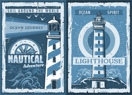 Nautical lighthouse vintage poster of seafarer marine safety sailing adventure. Vector retro ocean or sea beacon on shore with light beams and seagulls in blue waves