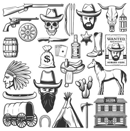 Vaqueros del salvaje oeste, sheriff occidental estadounidense y símbolos indígenas. Vector de caza de canoa y wigwam, cartel de ladrón buscado, carro de carro y silla de caballo o cráneo de toro, cactus y barril o salón de vaquero Ilustración de vector
