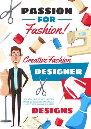 Fashion designer profession, atelier dressmaker tailor. Vector man with tailoring scissors, sewing machine or thread spool and needles, dummy dress mannequin and clothes sew pattern Illustration