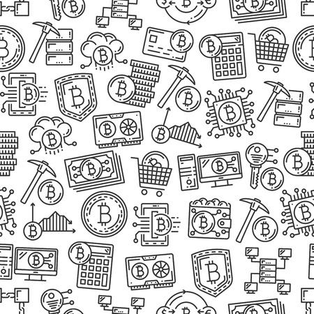 Bitcoin cryptocurrency, digital currency mining and blockchain technology seamless pattern. Vector crypto currency digital wallet, financial growth calculator and key code to mining system pattern Ilustração
