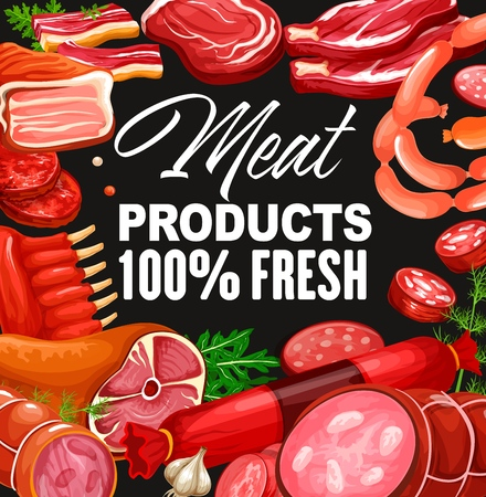 Butchery shop meat and grocery store gourmet sausages. Vector pork and beef meat products, salami or pepperoni and cervelat wursts delicatessen, bacon ham or smoked turkey brisket and veal steak