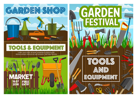 Gardening equipment, farmer planting tools and garden shop posters. Vector farming agriculture rakes, tree secateurs or farmer and gardener spade, watering can and agronomy inventory