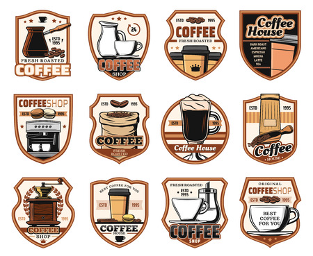 Coffee, cafe and cafeteria restaurant signs. Vector isolated icons of coffee machine, Turkish cezve and grinder mill, cappuccino or americano and espresso hot steam cups Ilustração