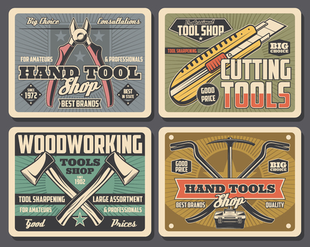 Construction and home renovation hand tools, handyman shop vintage posters. Vector cutting knife, pliers or nippers, woodworking ax and digging pickaxe and nail puller with toolbox