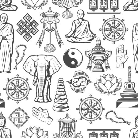Buddhism symbols and Zen Dharma religious icons seamless pattern. Foto de archivo - 129345403