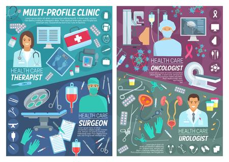 Personnel de santé et médecine, oncologie ou chirurgiens et médecins urologues. Articles médicaux et pilules de traitement, équipement de diagnostic de thérapie, d'oncologie et d'urologie et médicaments de santé